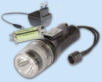 Taucherlampe  LED  für aufladbare Batterien